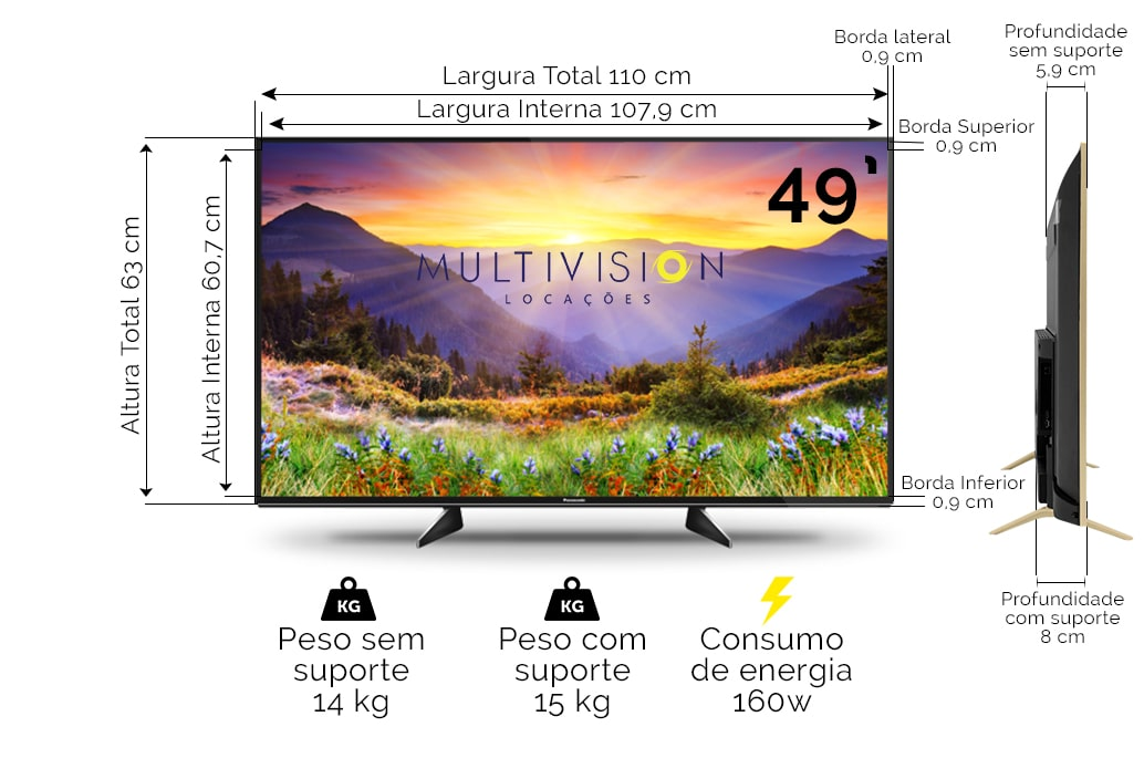 Locação TV 49 Polegadas
