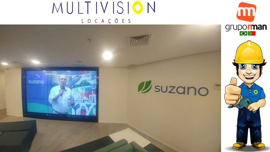 Locação de Video Wall TOUCH SCREEN ALUGUEL DE VIDEOWALL TOUCH SCREEN Multivision Locações Projeto Suzano Papel e Celulose